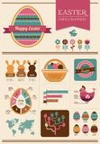 Happy Easter - infographic and elements Royalty Free Stock Photography