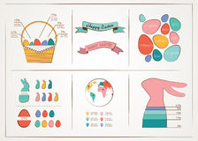 Happy Easter - infographic and elements. Vector illustration Stock Photo