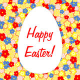 Happy Easter inside an easter egg on flower background Stock Images