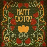 Happy Easter invitation card in art nouveau style Stock Photos