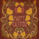 Happy Easter invitation card, background in art nouveau style Stock Images