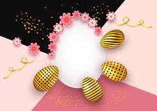 Happy Easter invitation card background with realistic golden eggs, swirl ribbon and sparkling confetti. Decoration elements with. Copy space for shopping royalty free stock photography
