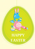 Happy Easter invitation card,with cute blue dragon. In pink bunny costume painting an easter egg Royalty Free Stock Images