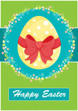 Happy Easter invitation card,green. Happy Easter invitation card,with yellow egg,red ribbon and floral decoration Royalty Free Stock Photo