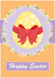 Happy Easter invitation card,yellow. Happy Easter invitation card,with yellow egg,red ribbon and floral decoration Stock Images