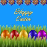 Happy Easter isolated on blue background. Colored Eggs, Green Grass and Flowers. Paper Cutting. Illustration for greeting card, poster, flier, blog, article royalty free illustration