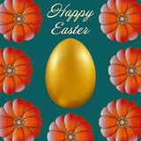 Happy Easter isolated on blue background. Golden Egg and Flowers. Paper Cutting. Illustration for greeting card, poster, flier, blog, article Royalty Free Stock Photography