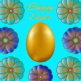Happy Easter isolated on blue background. Golden Egg and Flowers. Paper Cutting. Illustration for greeting card, poster, flier, blog, article Stock Photography