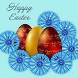 Happy Easter isolated on blue background. Golden Eggs and Cornflowers. Paper Cutting. Illustration for greeting card, poster, flier, blog, article royalty free illustration