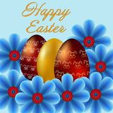 Happy Easter isolated on blue background. Golden Eggs and Flowers. Paper Cutting. Illustration for greeting card, poster, flier, blog, article stock illustration