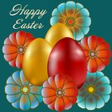 Happy Easter isolated on blue background. Golden and Red Eggs and Flowers. Paper Cutting. Illustration for greeting card, poster, flier, blog, article Stock Photos