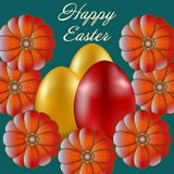 Happy Easter isolated on blue background. Golden and Red Eggs and Flowers. Paper Cutting. Illustration for greeting card, poster, flier, blog, article Royalty Free Stock Photography