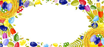 Happy Easter isolated colored eggs, spring decoration, leave, tulip flower design element in flat style Royalty Free Stock Photos