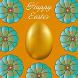 Happy Easter isolated on golden background. Golden Egg and Flowers. Paper Cutting. Illustration for greeting card, poster, flier, blog, article Royalty Free Stock Photos