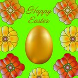 Happy Easter isolated on green background. Golden Egg and Flowers. Paper Cutting. Illustration for greeting card, poster, flier, blog, article stock illustration