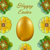 Happy Easter isolated on a light green background. Golden Egg and Flowers. Paper Cutting. Illustration for greeting card, poster, flier, blog, article vector illustration
