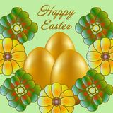 Happy Easter isolated on a light green background. Golden Eggs and Flowers. Paper Cutting. Illustration for greeting card, poster, flier, blog, article stock illustration