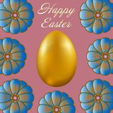 Happy Easter isolated on lilac background. Golden Egg and Flowers. Paper Cutting. Illustration for greeting card, poster, flier, blog, article Royalty Free Stock Image