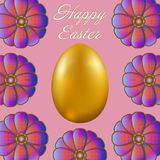 Happy Easter isolated on lilac background. Golden Egg and Flowers. Paper Cutting. Illustration for greeting card, poster, flier, blog, article Stock Photo