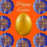 Happy Easter isolated on orange background. Golden Egg and Flowers. Paper Cutting. Illustration for greeting card, poster, flier, blog, article Royalty Free Stock Image