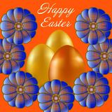Happy Easter isolated on orange background. Golden and Orange Eggs and Flowers. Paper Cutting. Illustration for greeting card, poster, flier, blog, article Stock Photos