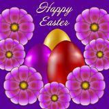 Happy Easter isolated on violet background. Colored Eggs and Flowers. Paper Cutting. Illustration for greeting card, poster, flier, blog, article Royalty Free Stock Images