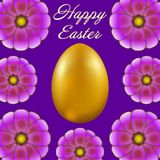 Happy Easter isolated on violet background. Golden Egg and Flowers. Paper Cutting. Illustration for greeting card, poster, flier, blog, article Royalty Free Stock Photo