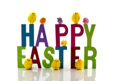 Happy easter isolated on white stock photography