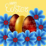 Happy Easter isolated on yellow background. Golden Eggs and Flowers. Paper Cutting. Vector Illustration for greeting card, poster, flier, blog, article royalty free illustration