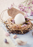 Happy Easter! IV. Easternest with quail eggs and greeting card Royalty Free Stock Photo