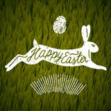 Happy easter jumping rabbit ccalligraphy. grass background. Vector illustration Stock Images