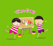 Happy easter with kids eggs and bunny painting canvas Stock Photos