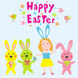 Happy easter with kids and rabits vector Stock Photos