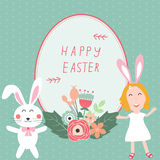 Happy easter with kids and rabits Stock Image