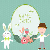 Happy easter with kids and rabits vector illustration Stock Images