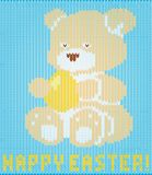Happy Easter knitted teddy bear background, vector. Illustration Royalty Free Stock Photo