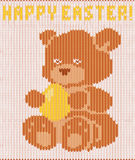 Happy Easter knitted teddy bear, vector Stock Image
