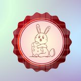 Happy Easter Label With Cute Hand Drawn Holiday Bunny Holding Egg. Vector Illustration stock illustration