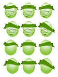 Happy Easter label. Set of 12 green eeg shape label with ribbons Royalty Free Stock Photo