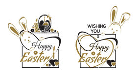 Happy Easter labels lettering set Stock Photography