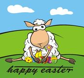 Happy easter - lamb and chick Stock Photos