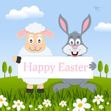 Happy Easter Lamb & Rabbit in a Meadow Stock Photography