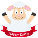 Happy Easter Lamb or Sheep with Ribbon Royalty Free Stock Images