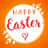 Happy Easter lettering banner. Happy Easter lettering background template with beautiful label of leaves, vector illustration Royalty Free Stock Images