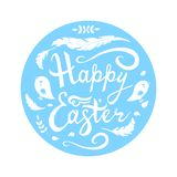 Happy Easter lettering with birds, herbs and feathers in circle isolated on white background. stock illustration