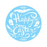 Happy Easter lettering with birds, herbs and feathers in circle isolated on white background. vector illustration