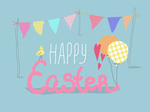 Happy Easter lettering card with cute chick and flags. Vector Happy Easter illustration. Cute yellow chick, colorfull flags and balloons Royalty Free Stock Photography
