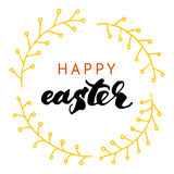 Happy Easter lettering card. Hand drawn lettering poster for Eas Stock Photos