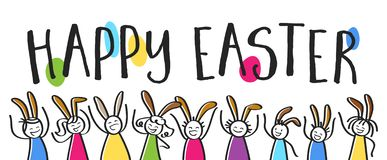 Happy Easter lettering, colorful stick people with bunny ears, horizontal banner stock illustration
