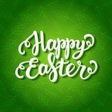 Happy easter lettering on floral green pattern. Happy easter lettering on floral green seamless pattern, Happy easter card, Happy Easter typography for greeting Stock Images